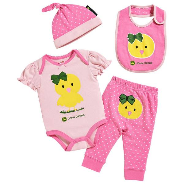 Baby Girl's Pink 4-Piece Chick Bodysuit & Pants Set
