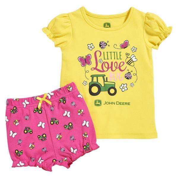 Baby Girl's Yellow & Magenta Little Love Bug Set