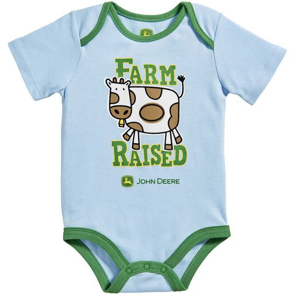 Baby Boy's Light Blue & Green Farm Raised Bodysuit