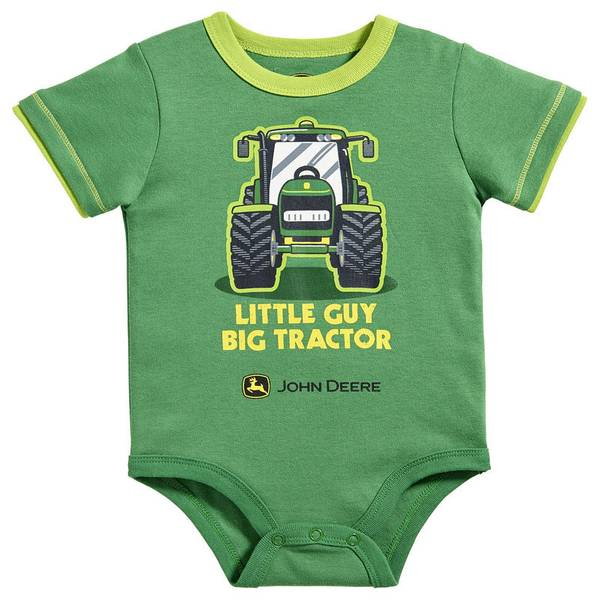 Baby Boy's Green & Lime Green Little Guy Big Tractor Bodysuit