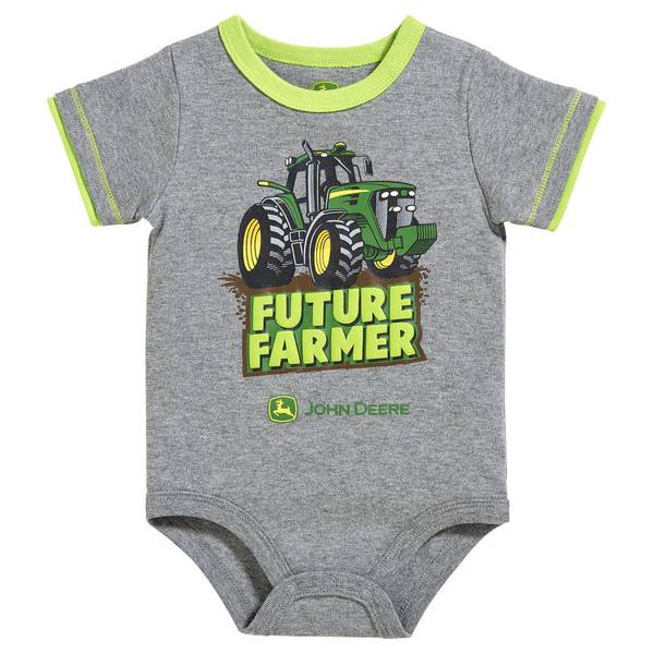 Baby Boy's Medium Heather Grey & Lime Green Future Farmer Bodysuit