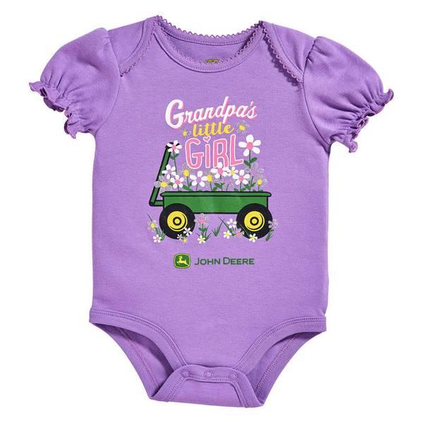 Baby Girl's English Lavender Grandpa's Little Girl Bodysuit