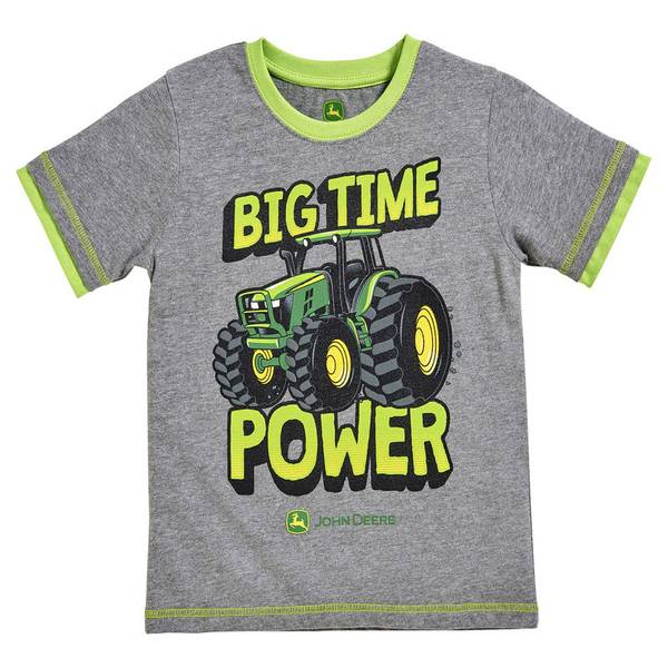 Infant Boy's Medium Heather Grey & Lime Green Big Time Power Tee