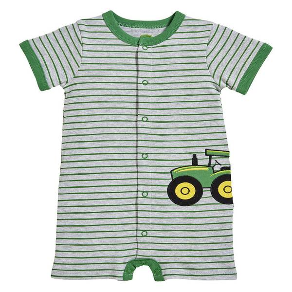 Baby Boy's Heather Grey & Green Tractor Applique Romper