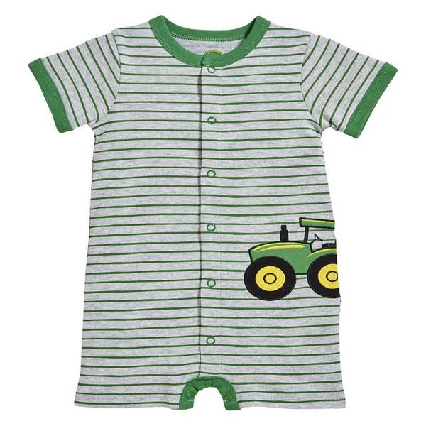 Infant Boy's Heather Grey & Green Tractor Applique Romper