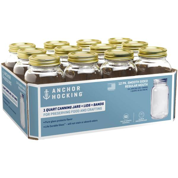 613608f543a Anchor Regular Mouth Quart Mason Jars - 12 Pack