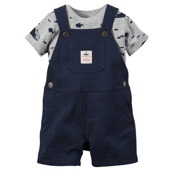 Baby Boy's Navy & Gray 2-Piece Tee & Shortalls Set