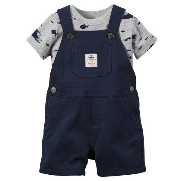 Baby Boy's Navy & Gray 2-Piece Tee & Shortalls Set