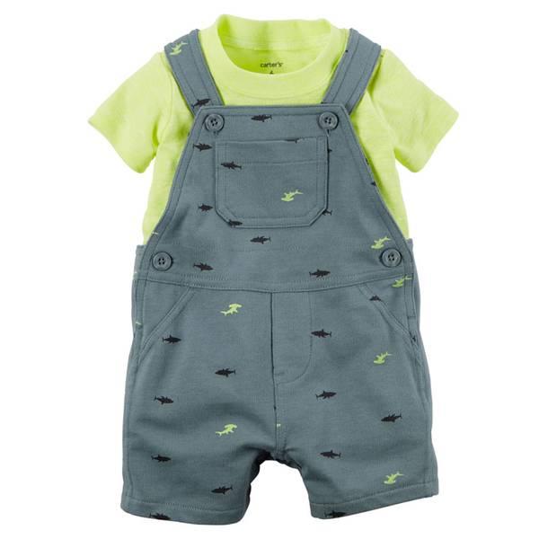 Baby Boy's Gray & Yellow 2-Piece Tee & Shortalls Set