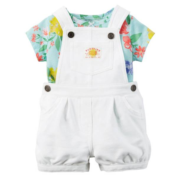 Baby Girl's White & Blue 2-Piece Tee & Shortalls Set