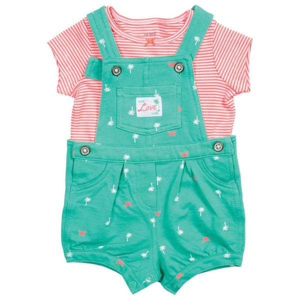 Infant Girl's Mint & Orange 2-Piece Top & Shortalls Set