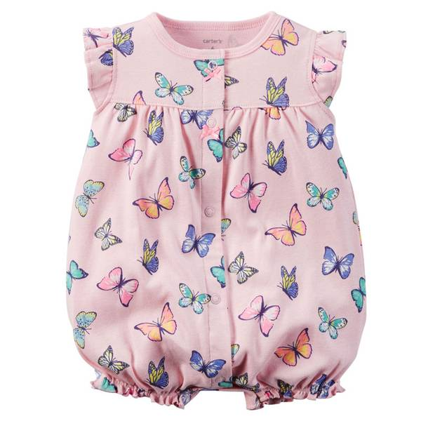 Infant Girl's Pink Short Sleeve Butterfly Snap-Up Rompers