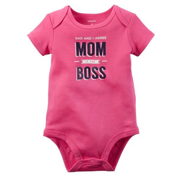"""Baby Girl's Pink Short Sleeve """"Mom's The Boss"""" Bodysuit"""