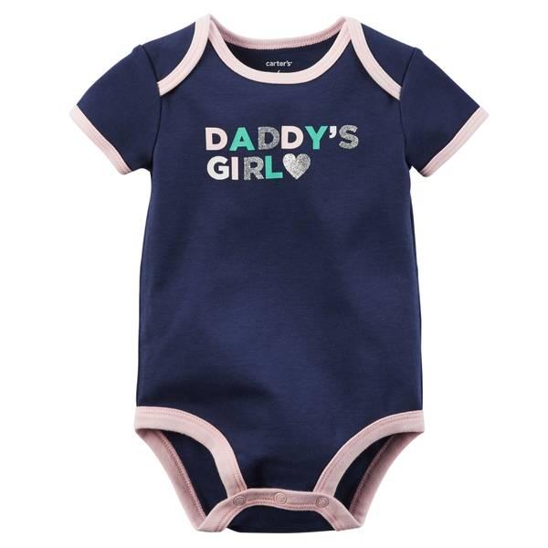 """Infant Girl's Navy Short Sleeve """"Daddy's Girl"""" Bodysuit"""