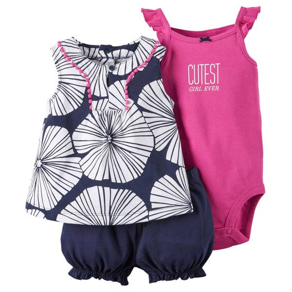 Baby Girl's Navy & Pink & White 3-Piece Bodysuit & Diaper Cover Set