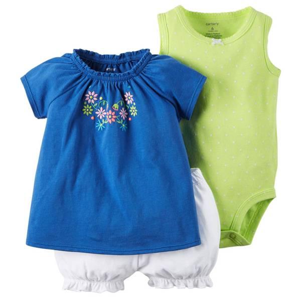 Infant Girl's Blue & Green & White 3-Piece Bodysuit & Diaper Cover Set
