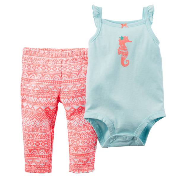 Baby Girl's Aqua & Coral 2-Piece Bodysuit & Pants Set