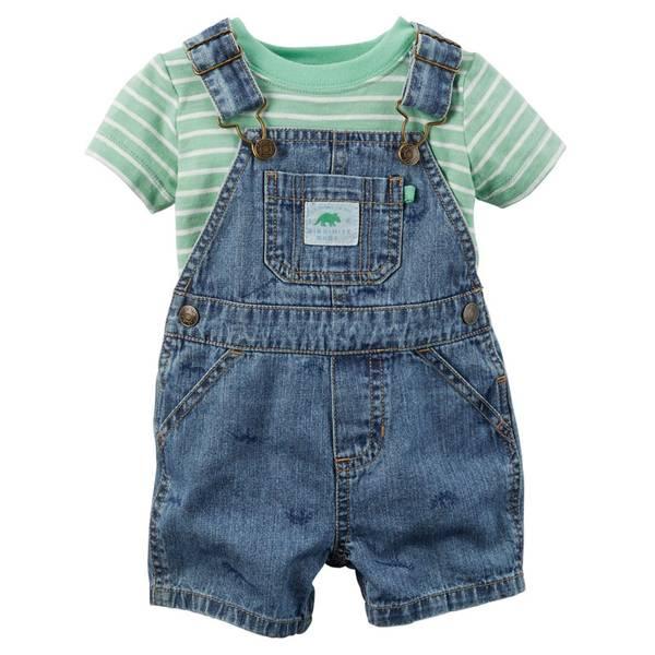 Infant Boy's Green & Blue 2-Piece Tee & Shortalls Set