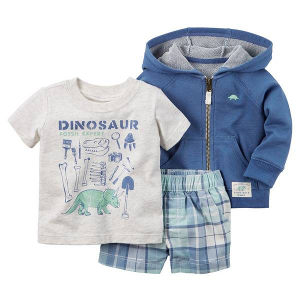 Infant Boy's Navy & White 3-Piece Cardigan Set