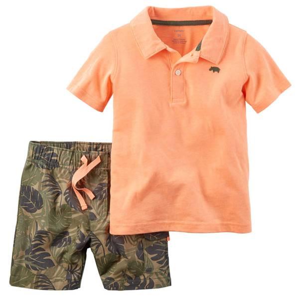 Baby Boy's Orange & Olive 2-Piece Polo Tee & Shorts Set