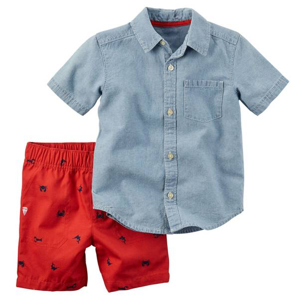 Infant Boy's Chambray & Red 2-Piece Shirt & Shorts Set
