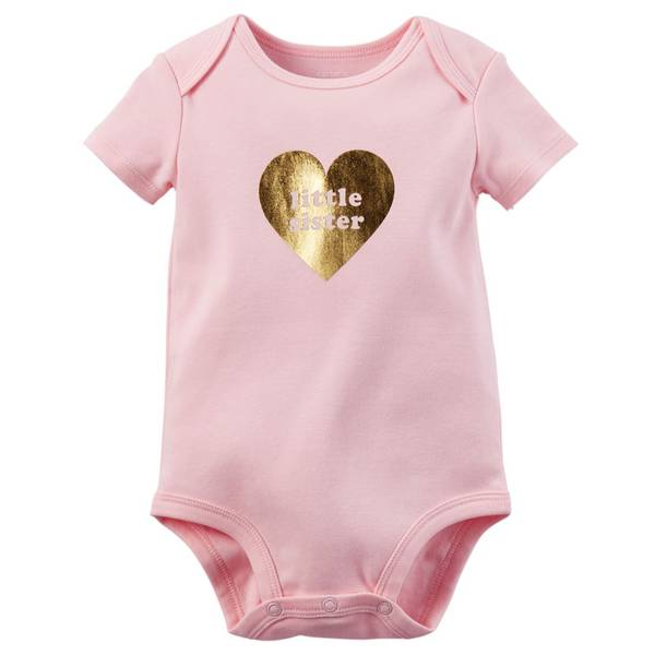 "Infant Girl's Pink Short Sleeve ""Little Sister"" Bodysuit"