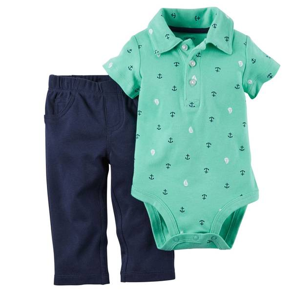 Infant Boy's Teal & Navy 2-Piece Bodysuit & Pants Set