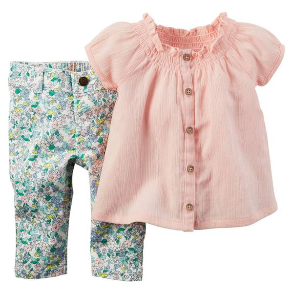 Infant Girl's Pink 2-Piece Tunic & Floral Printed Leggings Set