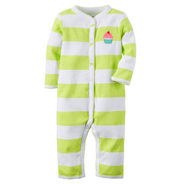 Baby Girls' Green & White Sleep & Play Snap-Up Pajamas