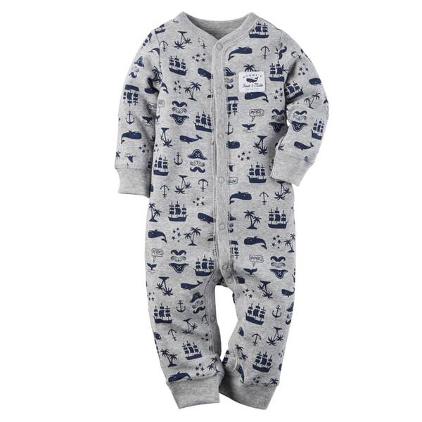 Baby Boys' Gray Sleep & Play Snap-Up Pajamas