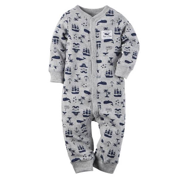 Baby Boys' Gray Sleep & Play Snap-Up Pajamas