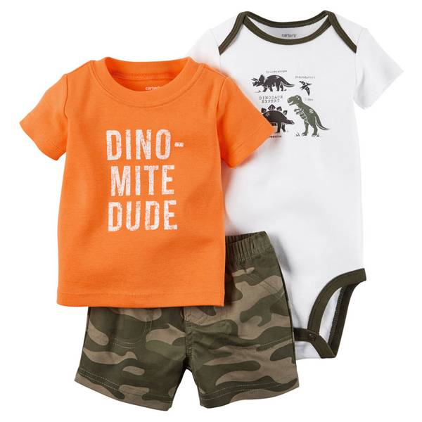 Baby Boy's White & Orange & Green 3-Piece Bodysuit & Shorts Set