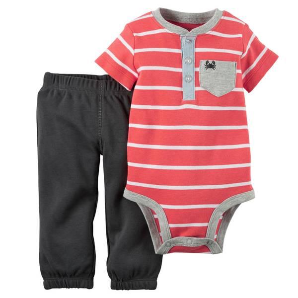Baby Boy's Red & Gray & Black 2-Piece Bodysuit & Pants Set