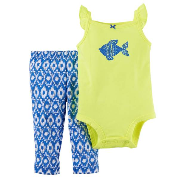 Baby Girl's Yellow & Blue 2-Piece Bodysuit & Pants Set