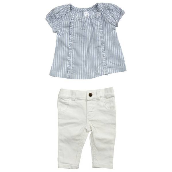 Infant Girl's Blue & White 2-Piece Striped Top & Pants Set
