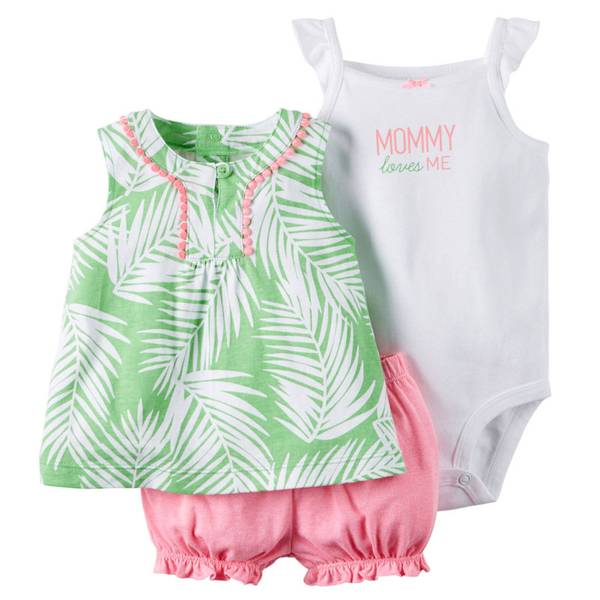 Infant Girl's Green & Pink & White 3-Piece Bodysuit & Diaper Cover Set