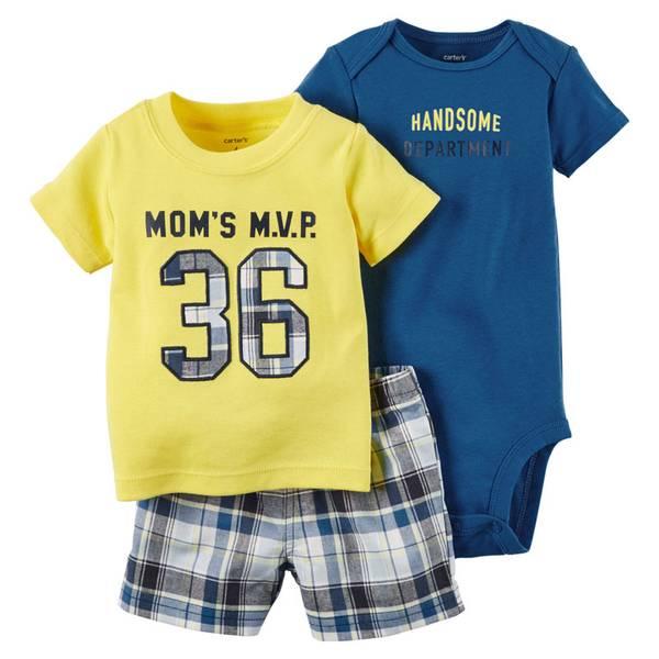 Infant Boy's Multi Colored Bodysuit & Shorts Set