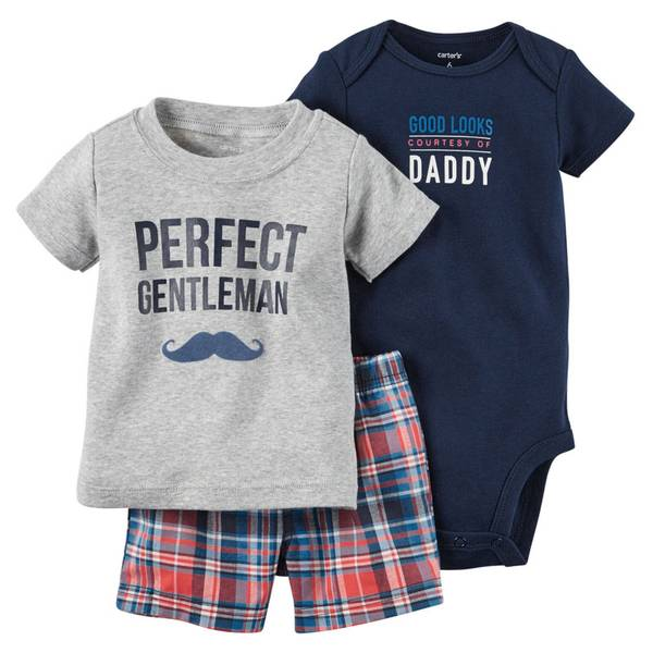 Baby Boy's Navy & Gray & Red 3-Piece Bodysuit & Shorts Set
