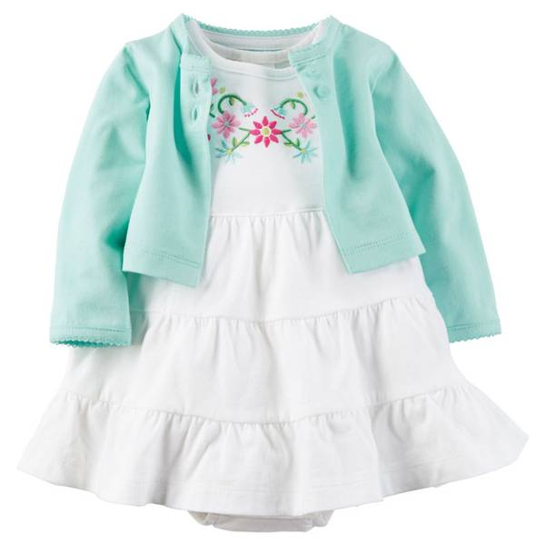 Baby Girl's White & Blue 2-Piece Bodysuit Dress & Cardigan Set