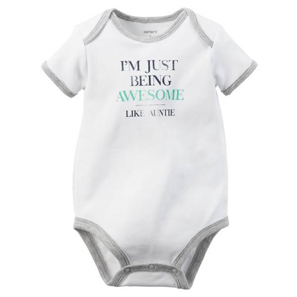 "Baby Boy's White Short Sleeve ""Just Being Awesome"" Bodysuit"