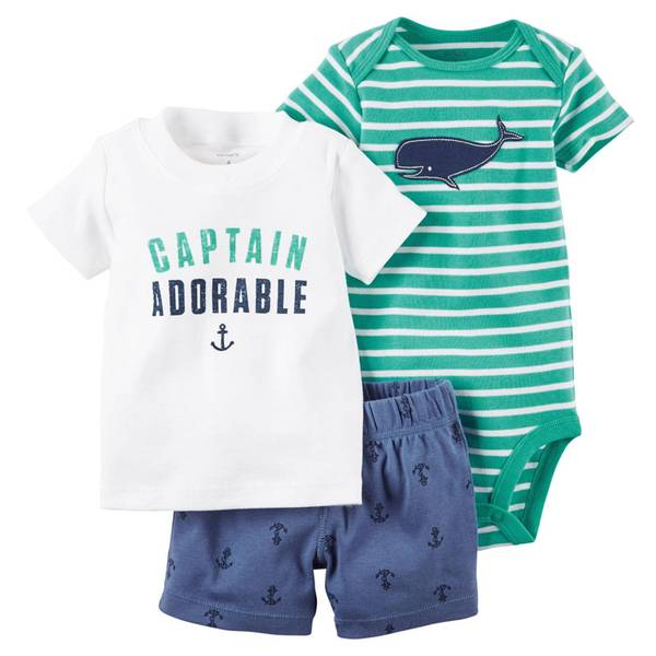 Baby Boy's Turquoise & White & Blue 3-Piece Bodysuit & Shorts Set