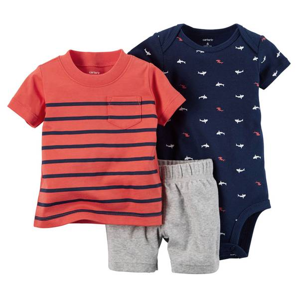 Infant Boy's Navy & Red & Gray 3-Piece Bodysuit & Shorts Set