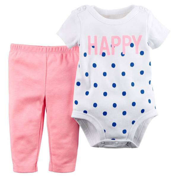 Infant Girl's White & Pink 2-Piece Bodysuit & Leggings Set