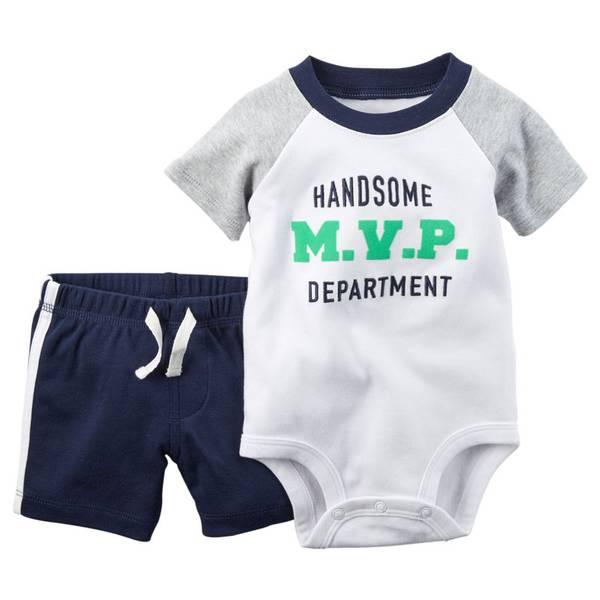 Baby Boy's Multi Colored 2-Piece Bodysuit & Shorts Set