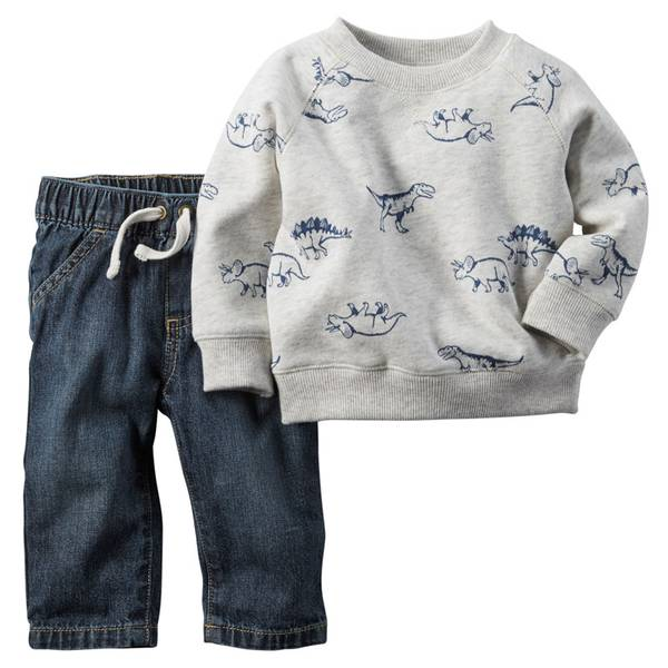 Baby Boy's Ivory & Blue 2-Piece Pullover & Jeans Set
