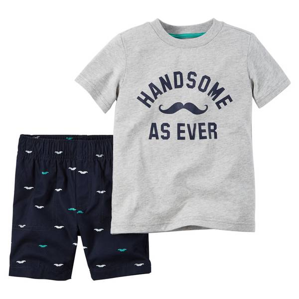 Infant Boy's Gray & Navy 2-Piece Tee & Shorts Set