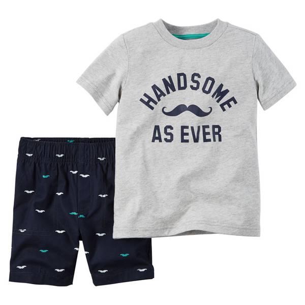 Infant Boy's Gray & Navy 2-Piece Tee & Shorts Set