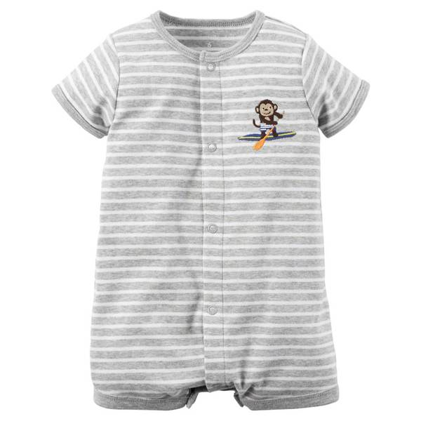 Baby Boy's Gray Short Sleeve Striped Snap-Up Rompers