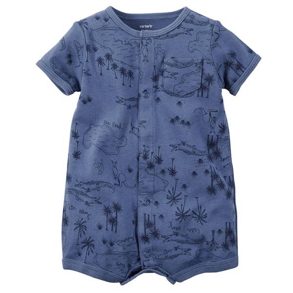 Baby Boy's Blue Short Sleeve Snap-Up Rompers