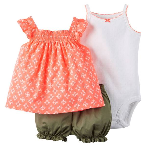 Infant Girl's Multi Colored Cotton Bodysuit & Diaper Cover Set